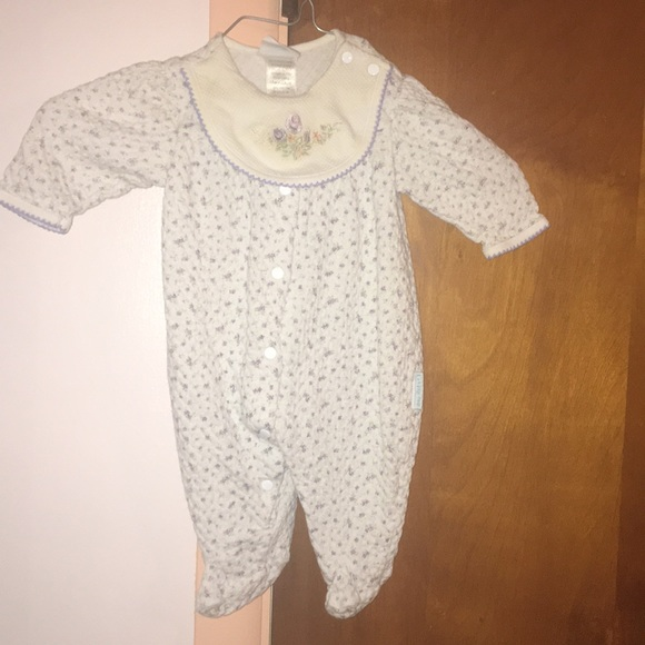 LITTLE ME 100/% Soft Cotton Pink BABY BEAR Footie  NWT